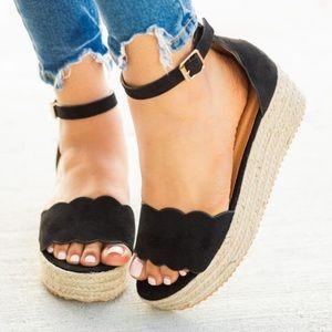 Shoes - RESTOCK 5⭐️BLACK SUEDE ESPADRILLES WEDGES- Sandals
